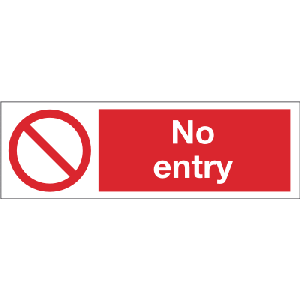300mm x 100mm No Entry Image