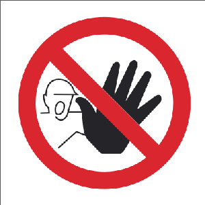 100mm x 100mm No Access or Entry Hand Image