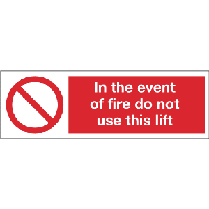 300mm x 100mm In the event of fire do not use lift Image