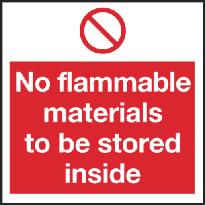 150mm x 150mm No flammable materials to be stored Image