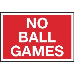 450mm x 300mm no Ball games Image