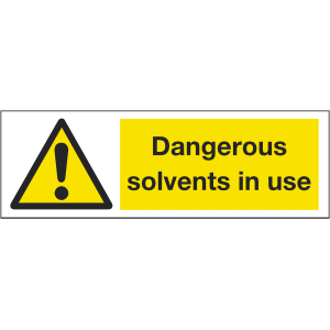 300mm x 100mm Dangerous solvents in use warning Image
