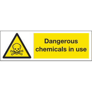 300mm x 100mm Dangerous chemicals in use warning s Image