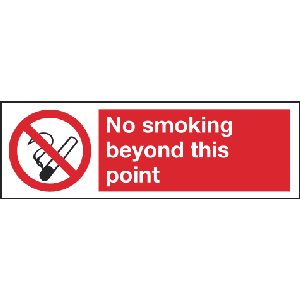 300mm x 100mm No Smoking beyond this point sign Image