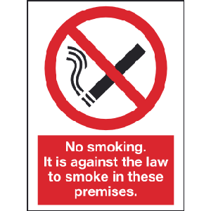 150mm x 200mm No Smoking Law Sign Image