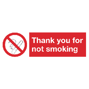 300mm x 100mm Thank you for not smoking Image