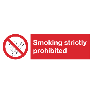 200mm x 300mm Smoking strictly prohibited Sign Image