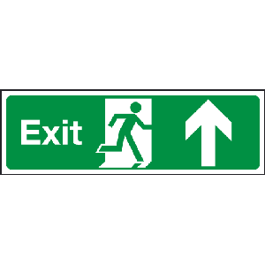 400mm x 150mm Arrow Up Fire Exit Sign BS5499 Image