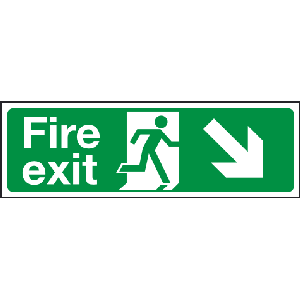 400mm x 150mm Arrow Down Right Fire Exit Sign BS54 Image