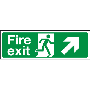 400mm x 150mm Arrow Up Right Fire Exit Sign BS5499 Image