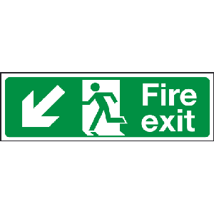 400mm x 150mm Arrow Down Left Fire Exit Sign BS54 Image