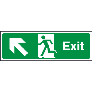 400mm x 150mm Arrow Up Left Fire Exit Sign BS5499 Image