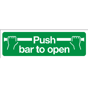 400mm x 150mm Push Bar To Open Sign BS5499 Image