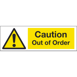 300mm x 100mm Caution out of order Image