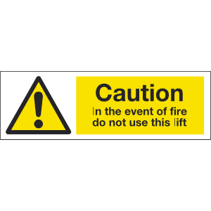 300mm x 100mm caution in the event of fire Image