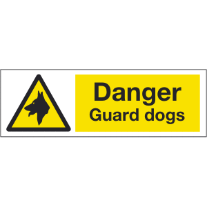 300mm x 100mm Danger Guard Dogs Image