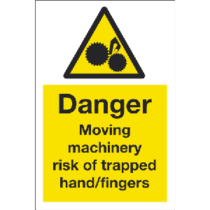 200mm x 300mm Danger moving machinery sign Image