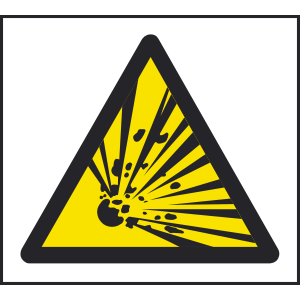 200mm x 200mm Warning explosive sign Image