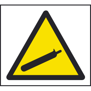 200mm x 200mm Warning compressed gas sign Image