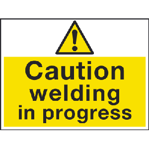600mm x 450mm Caution welding in progress sign Image