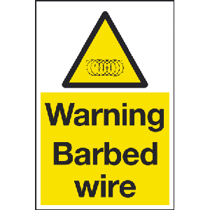 Warning barbed wire sign Image