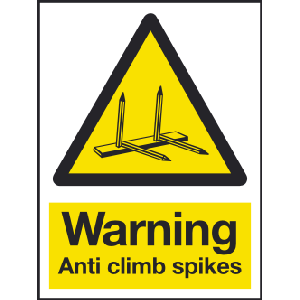 150mm x 200mm Warning anti climb spikes sign Image