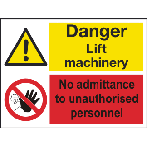 400mm x 300mm Danger lift machinery No Entry Image