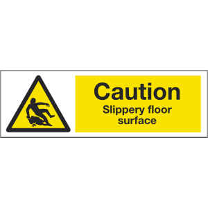300mm x 100mm Caution Slippery floor surface Image
